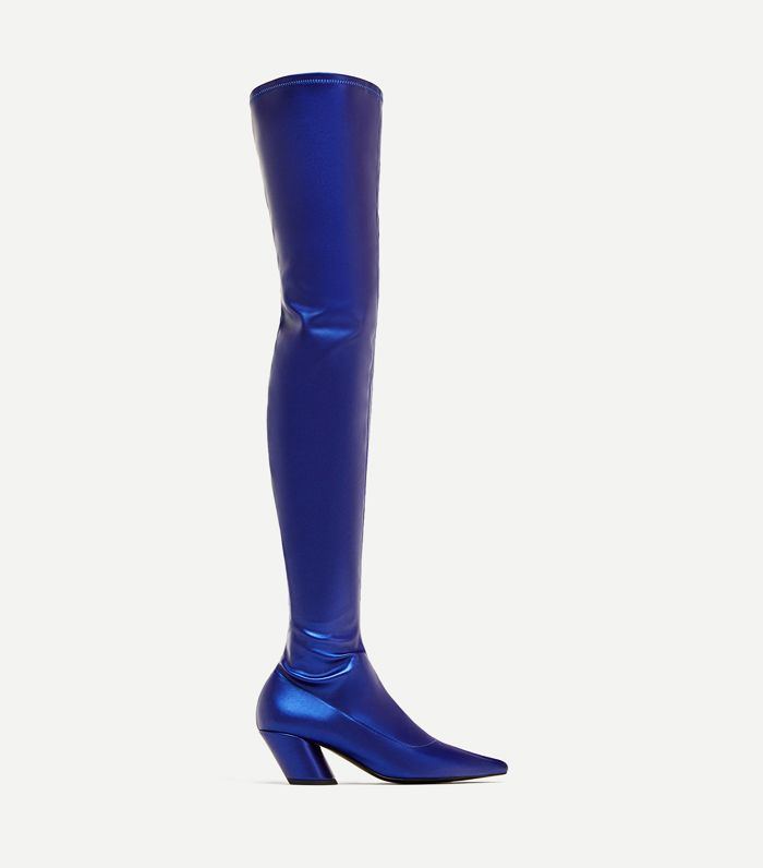 Zara TRF Shoes Collection: Zara Electric Blue Pointed Over-the-Knew High Heel Boots