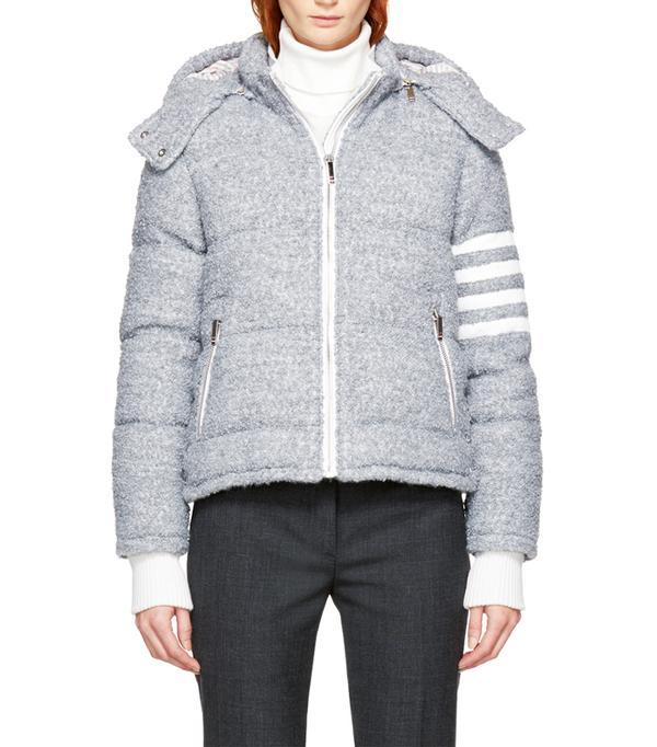 Best Ski Jackets: Thom Browne Grey Down Four Bar Ski Jacket
