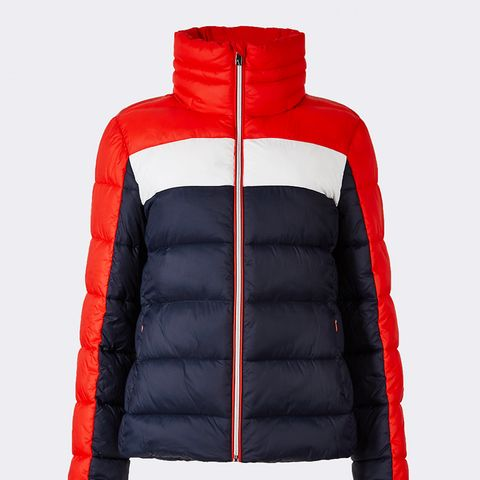 Colour Block Jacket With Concealed Hood
