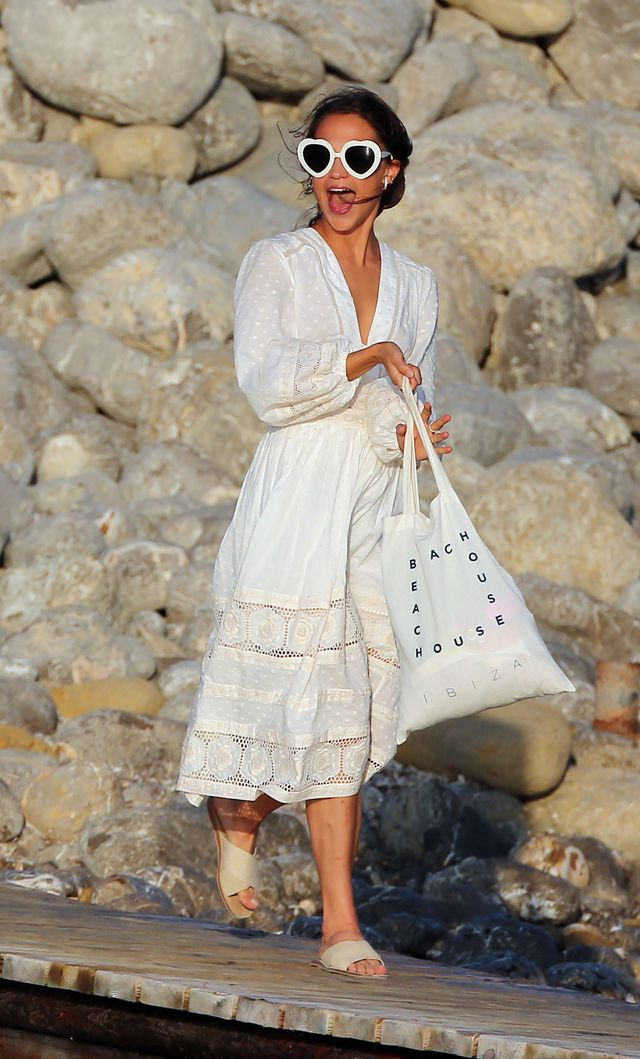 Alicia Vikander wedding weekend white dress