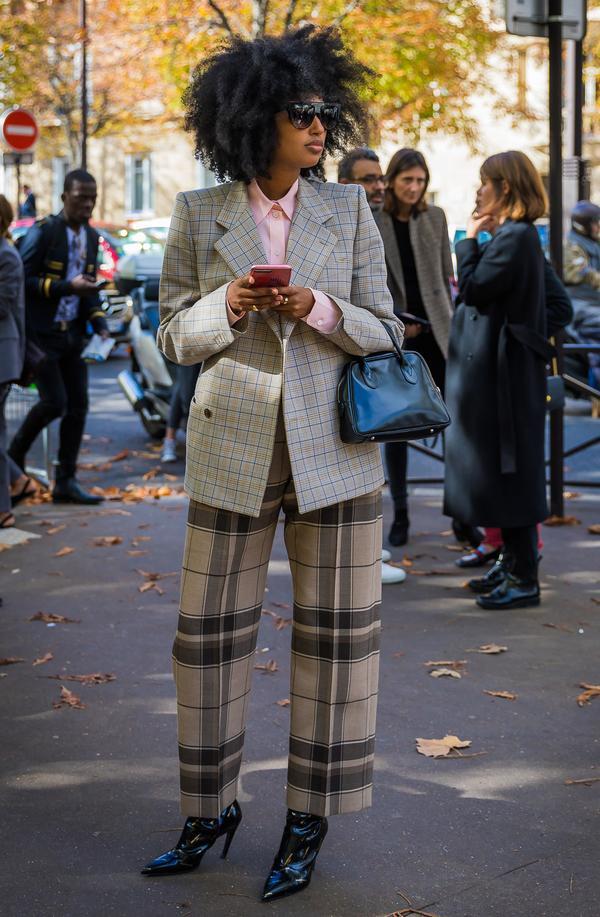 Plaid Pants + Sleek Button-Down