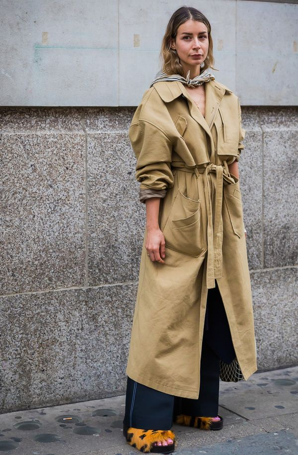 Trench + Wide-Leg Pants