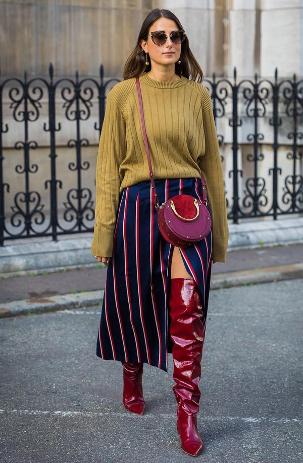 High-Slit Skirt + Over-the-Knee Boots