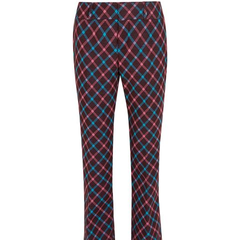 Checked Twill Bootcut Pants