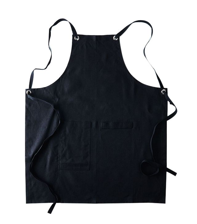 Studiopatró Black Cross-Back Kitchen Apron With Black Ties