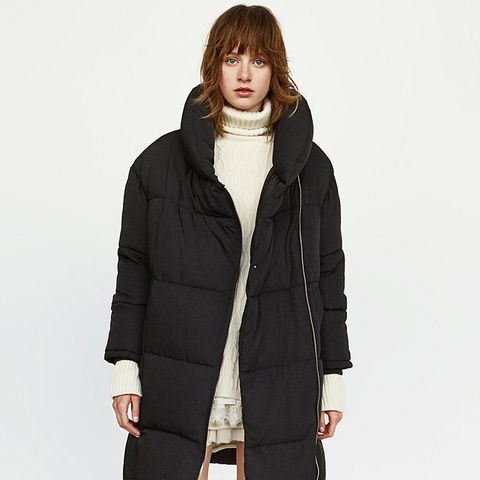 Long Puffer Coat with Crossover Zip