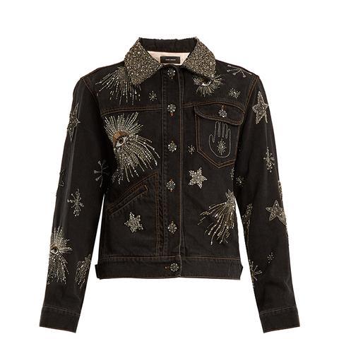 Eloise Crystal-Embellished Denim Jacket