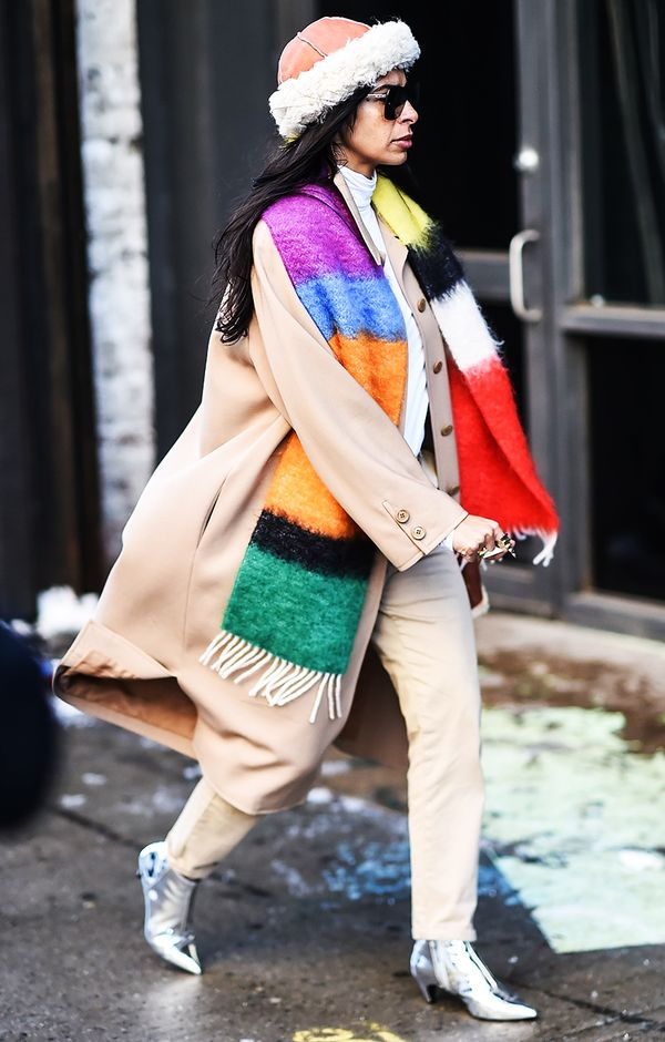 How to Wear Bright Colors in the Winter Street Style: Swap Your Scarf