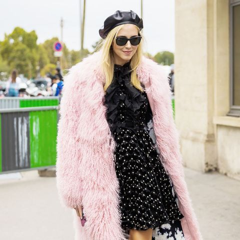How to Wear Bright Colors in the Winter Street Style: Fur Coats