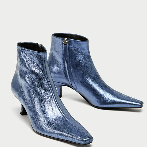 Blue High Heel Metallic Leather Ankle Boots