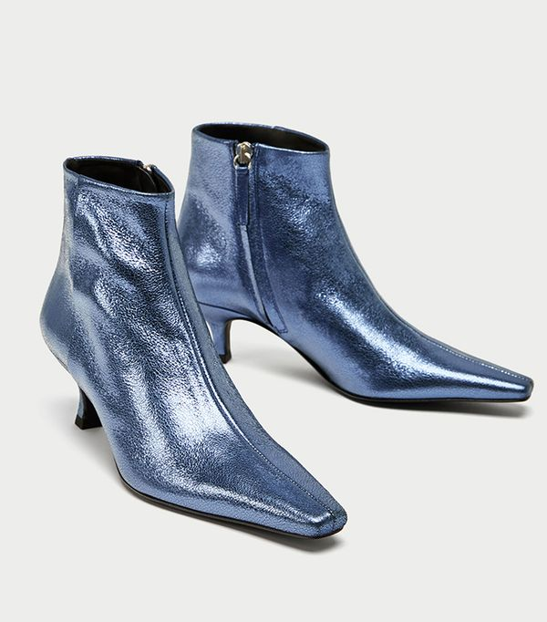 Zara Blue High Heel Metallic Leather Ankle Boots