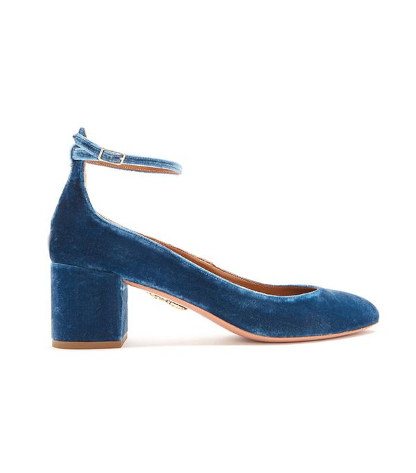 Alix block-heel velvet pumps