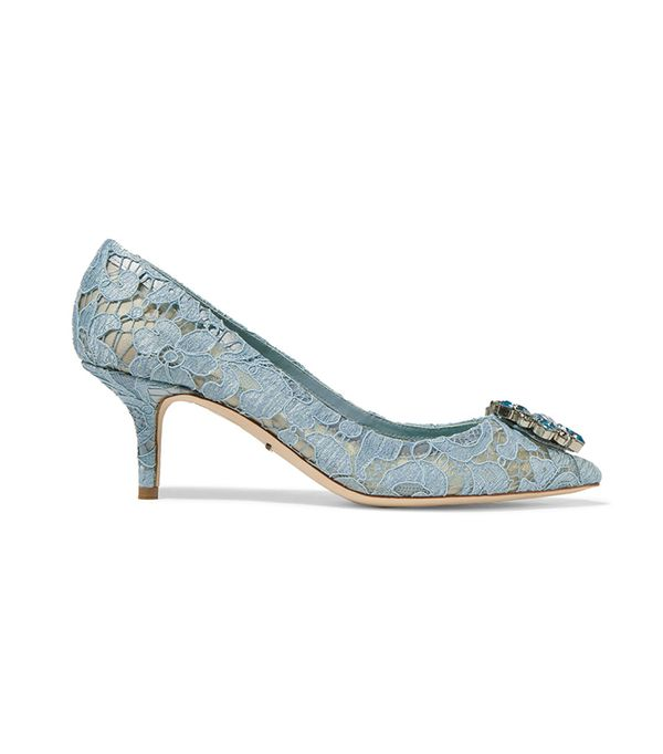 Crystal-embellished Lace Pumps