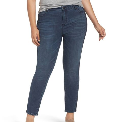 Side Panel Skinny Ankle Jeans