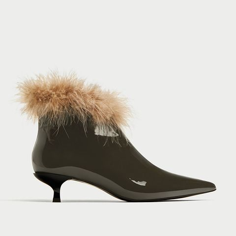 High Heel Ankle Boots With Feathers