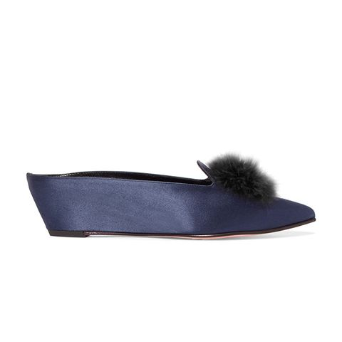 Castaigne Feather-Embellished Satin Mules