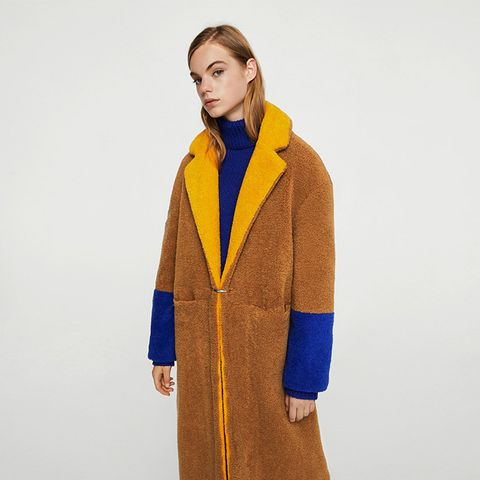 Contrast Faux Fur Coat