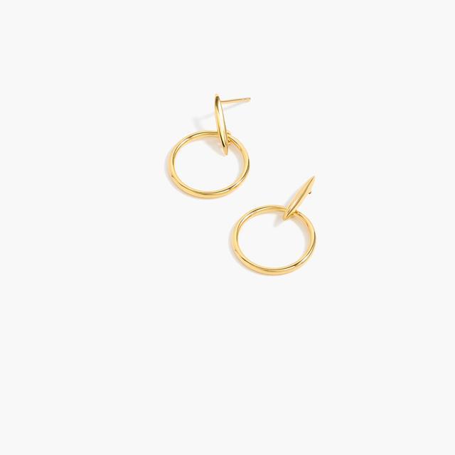 J.Crew Demi-Fine 14K Gold-Plated Drop Hoop Earrings
