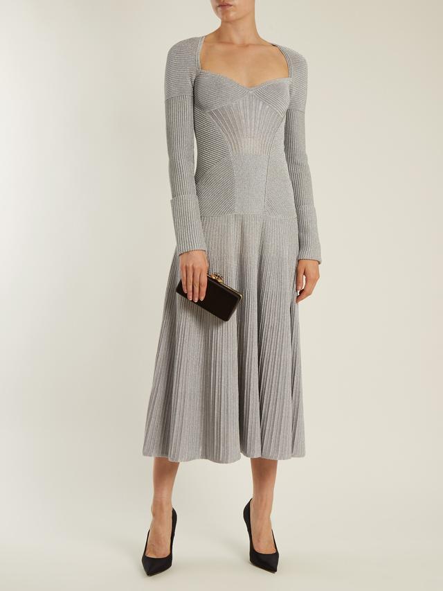 Sweetheart-neck long-sleeved wool-blend dress
