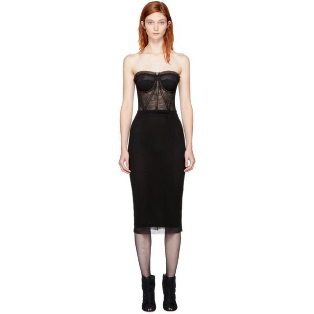 Dolce & Gabbana Black Mesh Sweetheart Dress