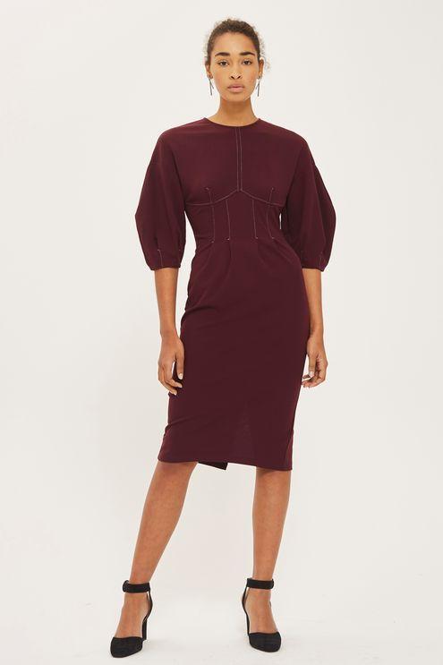 Balloon Sleeve Stitch Midi Dress