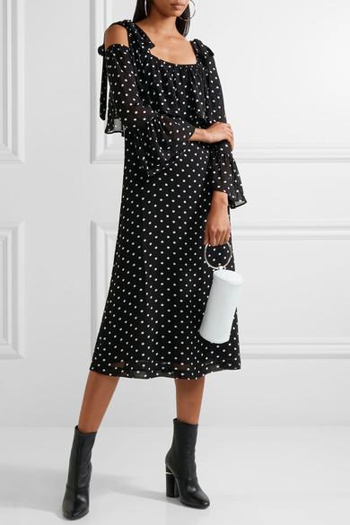 Monette Cold-shoulder Polka-dot Georgette Dress