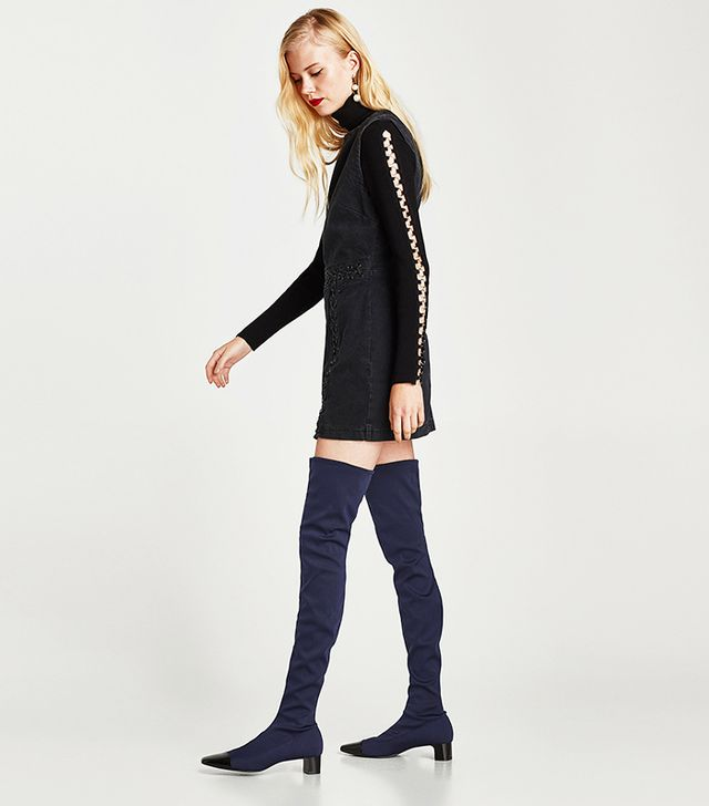 Zara Over-the-Knee High Heel Boots With Contrasting Toe