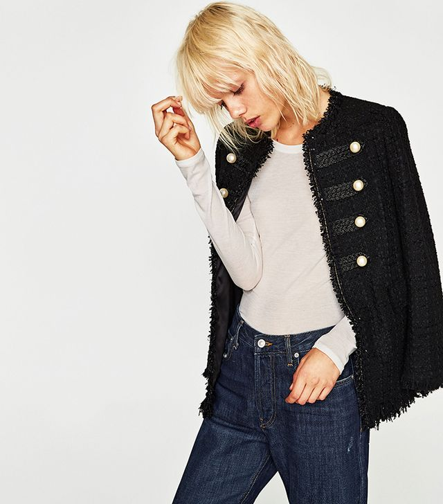 Zara Jacket With Pearl Buttons