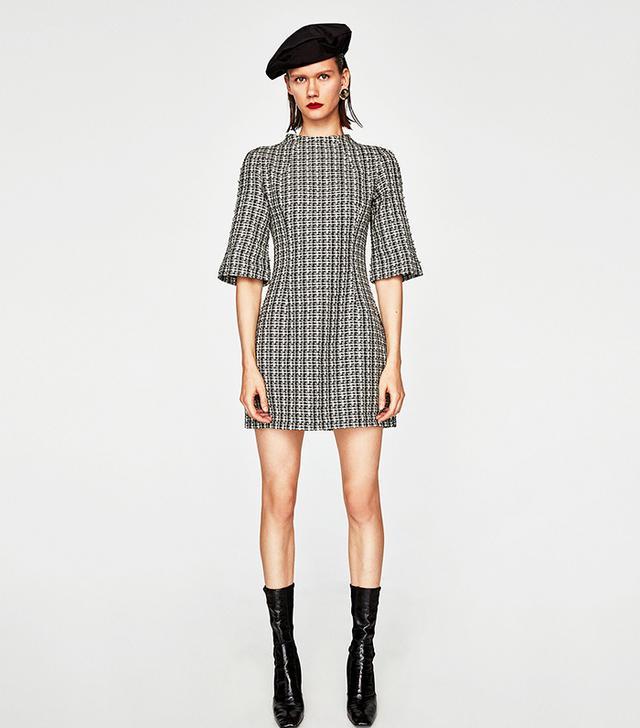 Zara Two-Tone Tweed Dress