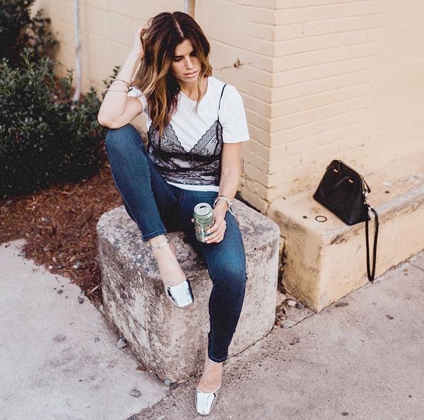 who what wear lace mixed tee target street style