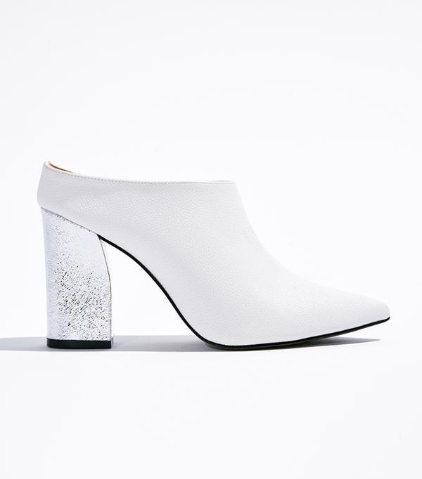 Trisha Pointed Toe Silver Heel Mules