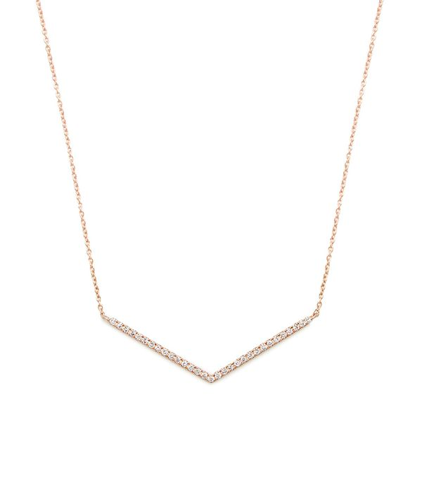 Diamond & rose-gold Chevron necklace