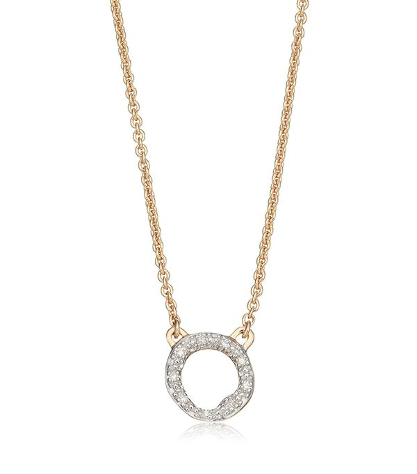 Women's Monica Vinader Riva Diamond Circle Pendant Necklace