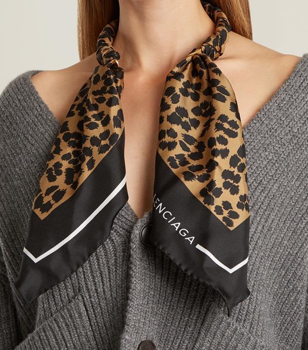 Balenciaga Leopard-Print Silk-Twill Scarf Necklace