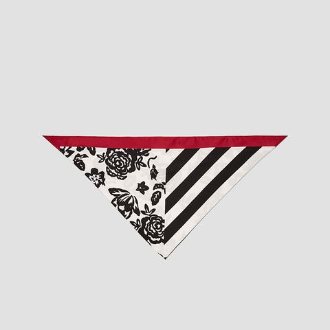 Scarf With Contrasting Flowers and Stripes
