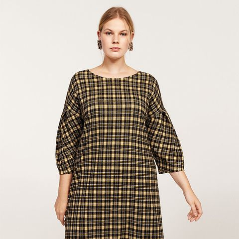 Pleated Sleeve Checked Dress