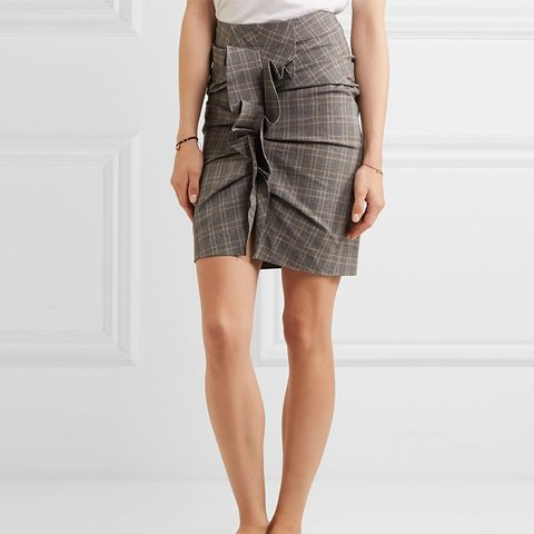 Noora Ruffled Plaid Stretch-Cotton Skirt