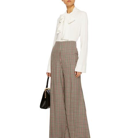 High-Rise Wide Leg Gingham Wool Trouser