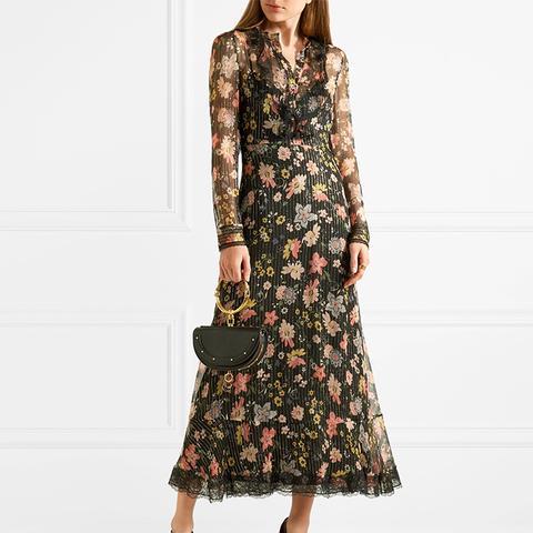 Ruffled Floral-Print Silk-Chiffon Midi Dress