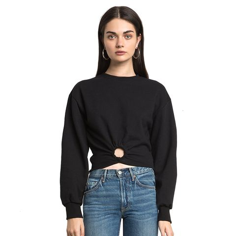 Black Ring Crop Sweatshirt