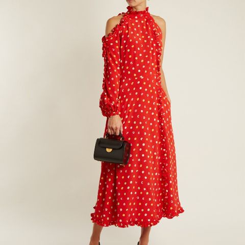 One-Shoulder Cut-Out Polka-Dot Crepe Dress