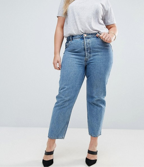 ASOS CURVE RECYCLED FLORENCE Authentic Straight Leg Jeans in Mindy Vintage Blue Wash