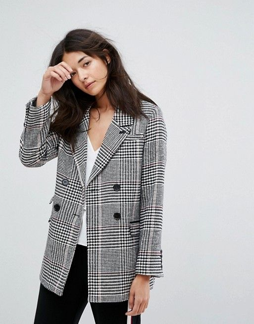 Longline Blazer In Prince Of Wales Check