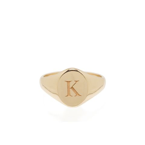 14K Engraved Signet Ring