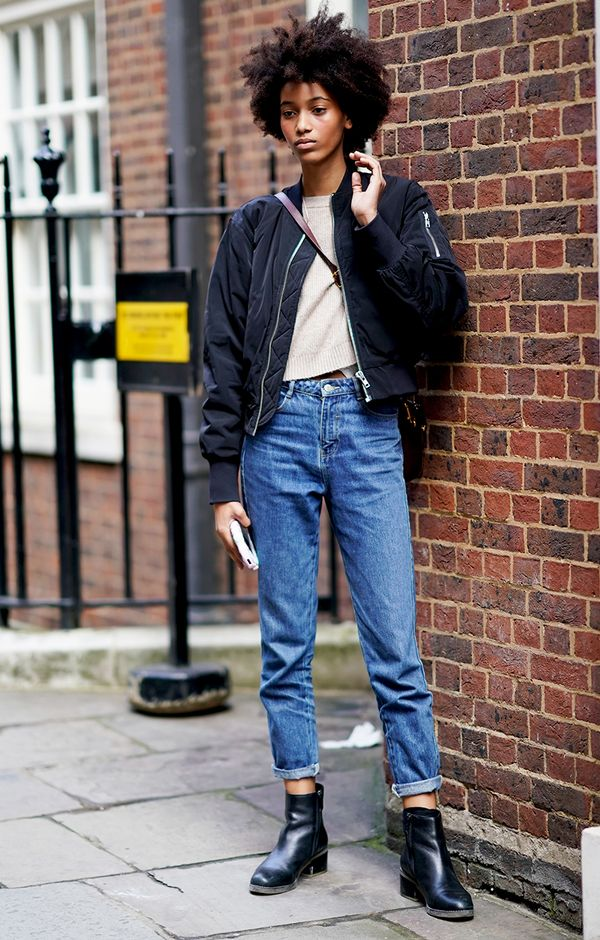 bomber jacket and jeans outfit