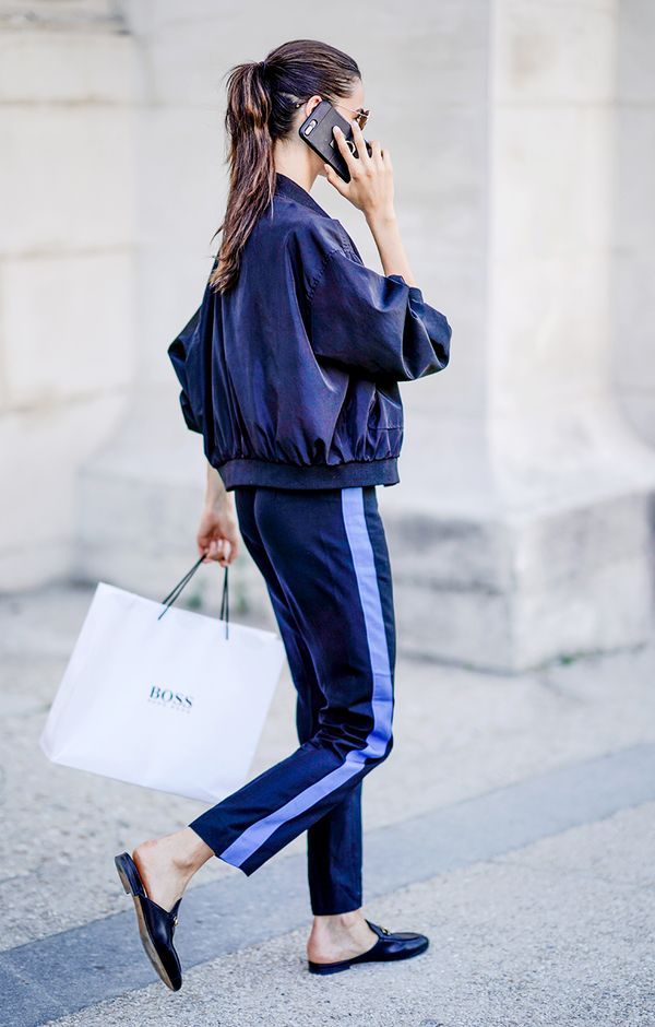 bomber jacket with track pants