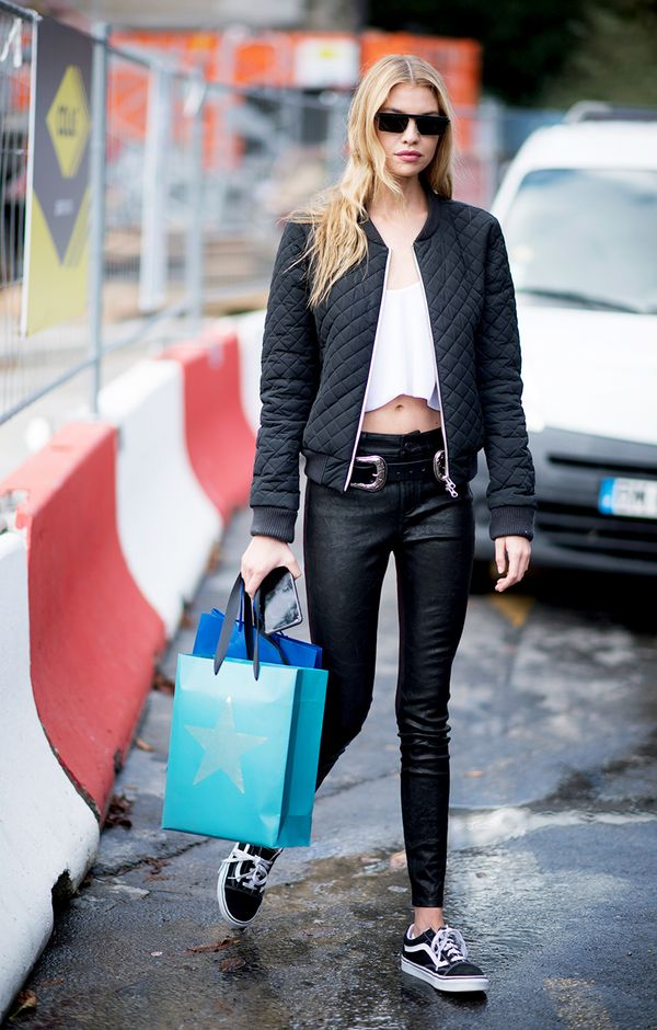 stella maxwell bomber jacket outfit