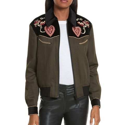 Contrast Embroidery Bomber Jacket
