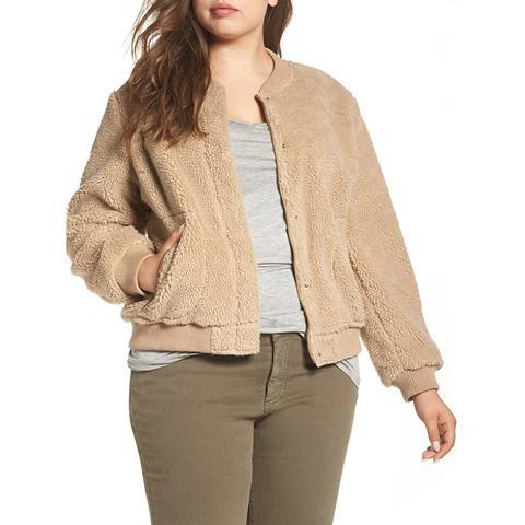 Rib Knit Fleece Bomber Jacket