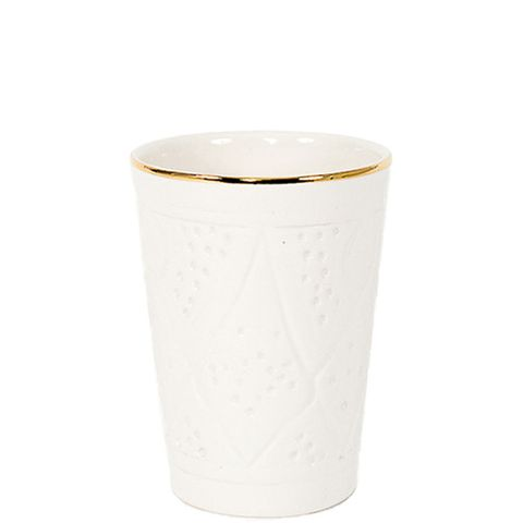 Ceramic Cup in White & Gold